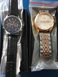 Relógios Lige pulseira de couro e aço Novo