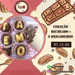Título do anúncio: Coração de chocolate + brigadeiro