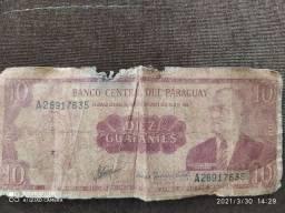 nota antiga Paraguay DIEZ GUARANIES