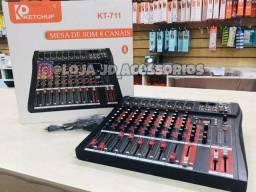 Mesa De Som C/ Bluetooth Usb P/ Pendrive Pc 8 Canais