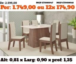 Conjunto de Mesa de 6 Cadeira - Mesa de Jantar - Liquida em MS