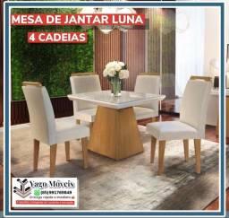 Título do anúncio: Mesa de jantar Luna 4 cadeiras com tampo de vidro em Mega Promoção !