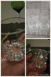 Copos vidro lapidado