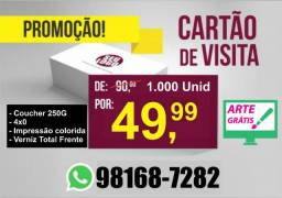Cartão de visita, 49,99 (1000 Unidades) / Panfletos R$99,99 o milheiro