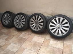 Vendo Rodas 16, diamantadas, multifuros, com pneus meia vidas