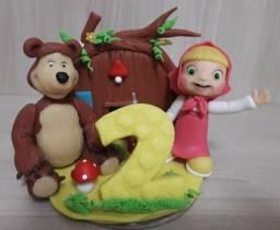 Topo de Bolo Masha e o Urso - Biscuit