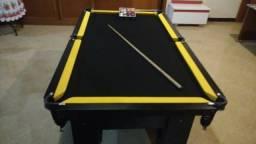 Mesa de Sinuca Cor Preta Tecido Preto e Borda Amarela Mod. ITTT6515