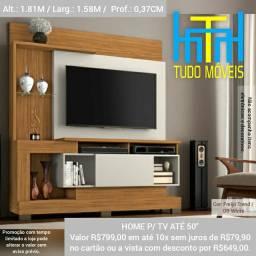 """Home Para TV até 50"""" / Detalhe em Vidro"""
