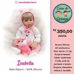 Bebê Boneca Reborn Isabella 100% silicone 48 cm