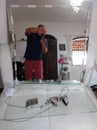 Espelho com led e prateleira