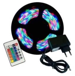 Fita de led RGB completa 5 metros com controle remoto e fonte