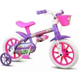Título do anúncio: Bicicleta Infantil Nathor Violet Aro 12 Menina Rosa Lilás - Nova