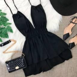 Vestido frente única suede - preto