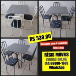 Mesa de Cozinha Nova 70cm x 70 cm c/4 cadeiras - Entrego em Maringá e Sarandi