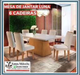 Título do anúncio: Mesa de jantar Luna 6 cadeiras 100 % MDF Com tampo de vidro em Promoção !