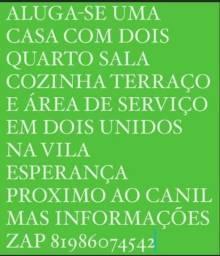 Título do anúncio: ALUGA-SE CASA EM DOIS UNIDOS