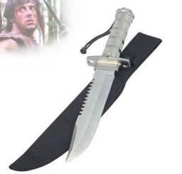 Faca Rambo Tática Militar Sobrevivência Pesca caça Lamina Serrilhad