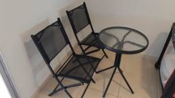 Kit varanda 2 cadeiras e 1 mesa com vidro temperado!