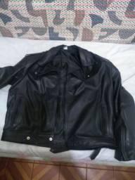 Blusa de couro reforçada para motociclista