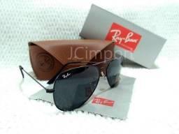74c6e169a Óculos de Sol Ray Ban Aviador Preto 3025 3026 Lentes de Vidro