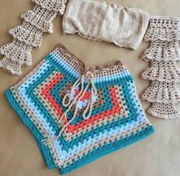 Conjunto de Crochê Short e Cropped sob encomenda