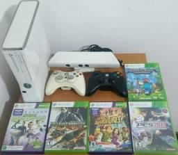 Xbox 360 Branco Kinect 4gb 2 Controles 5 Jogos