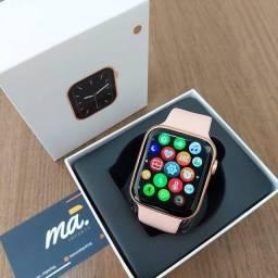 Título do anúncio: Smartwatch Iwo W506 Recebe e faz ligações, Baixa Foto ( Rosa e Preto )
