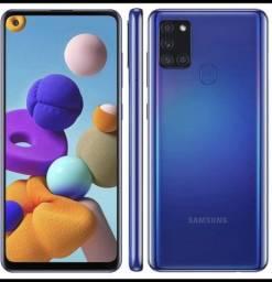 """Smartphone Samsung Galaxy A21s Azul 64GB, Câmera Quádrupla,Tela Infinita de 6.5"""""""
