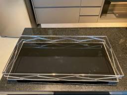 Bandeja bar retangular trama com vidro preto