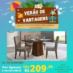 VERÃO DE VANTAGENS / Conjunto Mesa Com Tampo De Vidro 04 Cadeiras