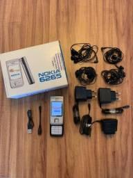 Título do anúncio: Celular Retrô Nokia 6265 CDMA raridade para colecionador + acessórios!