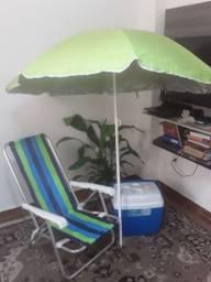 Título do anúncio: Kit praia (guarda sol + Caixa térmica com alça + cadeira de praia)