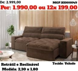 Supe Promoção-Sofa Retratil e Reclinavel 2,30 em Molas e Suede- Sofa Grande- Barato
