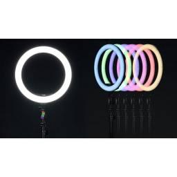 Título do anúncio: RING LIGHT LED COLORIDO 36CM / 14 POLEGADAS + 3 SUPORTES +  TRIPÉ