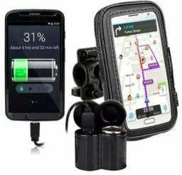 Kit pra moto suporte capa GPS impermeável + carregador de celular pra moto