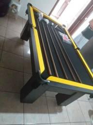 Mesa de Sinuca e Bilhar Cor Branca Tecido Preto Mod. BKGU4015