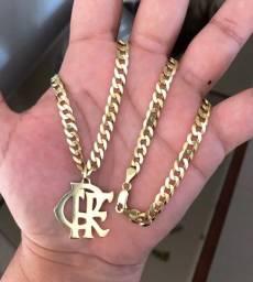 Título do anúncio: Corrente Grumet de Prata Banhada a Ouro Flamengo