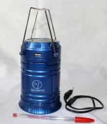 Lampião Solar Lanterna Led Recarregável Lamparina Saída Usb