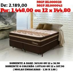 Conjunto Box Mola Ensacada Casal 1,38- Densidade Alta- Colchão +Base- Cama Casal