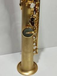 Título do anúncio: Saxofone Soprano Reto Hoyden Jateado Ouro Hss-25 Sib Zerado
