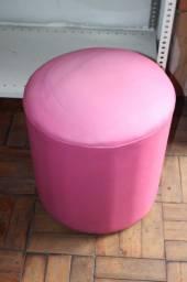 Título do anúncio: Puff Redondo Couro Ecológico Rosa 40 cm x 43 cm x 43 cm
