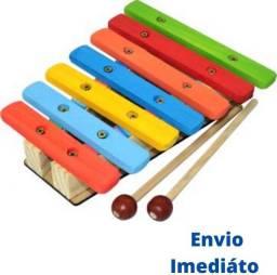 Xilofone Infantil Instrumento Musical Madeira Colorido.