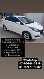 Título do anúncio: HbB20s Confort Style 1.6 2016 Autom. / Carro NOVO 43.000KM