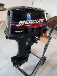 Motor de popa 15hp mercury super 2012 impecável