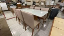 Mesa de jantar Nivel retangular madeira e acabamento laka
