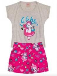 Título do anúncio: Conjunto menina short saia e camiseta unicórnio