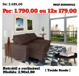 Sofa Retratil e Reclinavel 2,90 em Molas e Suede - Sofa Grande- Sofa Barato