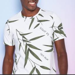 Camiseta Folhagens Off White & Verde G