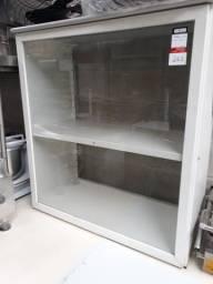 Balcão de Ferro e Vidro, Com Prateleira Central, Dimensões LxPxA: 0,98x0,50x1,02 - Usado