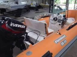 Flexboat SR 15 LX versão Luxo com Motor Evinrude 6